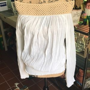 Off the shoulder long sleeve white top